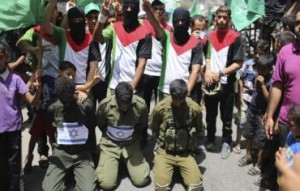 Hamas-supporters-enact-a-scene-simulating-the-abduction
